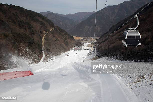 View of the construction site of the Jeongseon Alpine Centre during the venue opening ceremony for the forthcoming official Test Event of the...