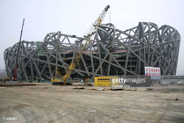 A view of the construction site of the National Stadium on July 14 2006 in Beijing China The National Stadium nicknamed the 'Bird's Nest' due to the...
