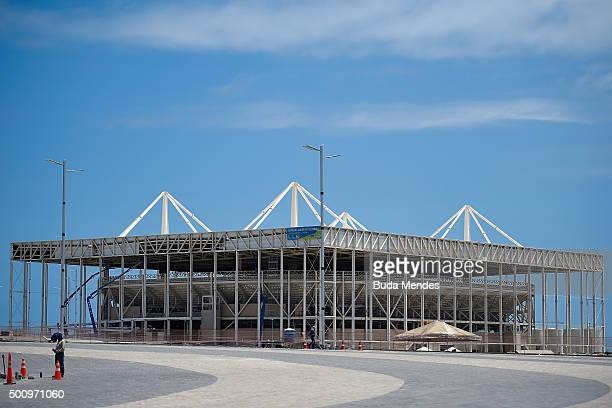 View of the construction site of the Olympic Aquatics Stadium at the Olympic Park on December 11 2015 in Rio de Janeiro Brazil