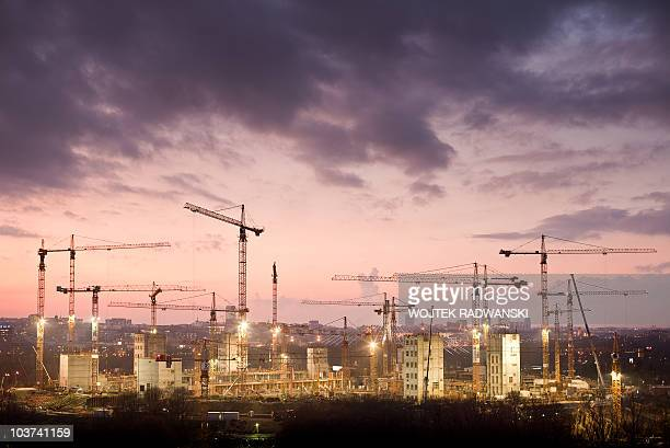 View of the construction site of the Polish National stadium in Warsaw at sunset on November 26 2009 Poland and Ukraine cohost the Euro 2012 football...