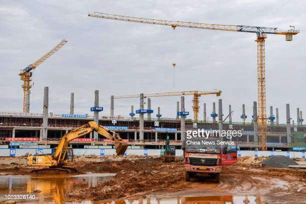 View of the construction site of the second phase of Haikou Meilan International Airport on August 21, 2018 in Haikou, Hainan Province of China. The...