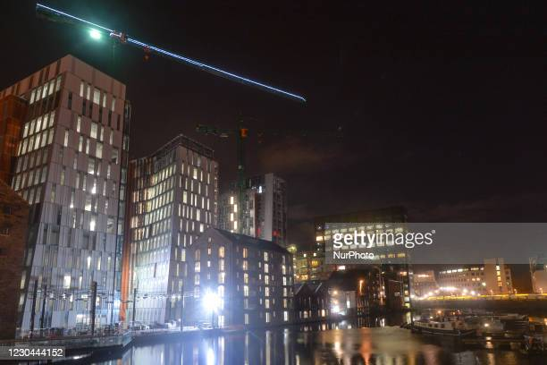 View of the construction sites and Google EMEA HQ building , at the Grand Canal Docks, in Dublin. More than 200 Google employees in the US formed a...