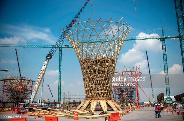 View of the construction works of Mexico City's new airport in Texcoco Mexico State on July 31 2018