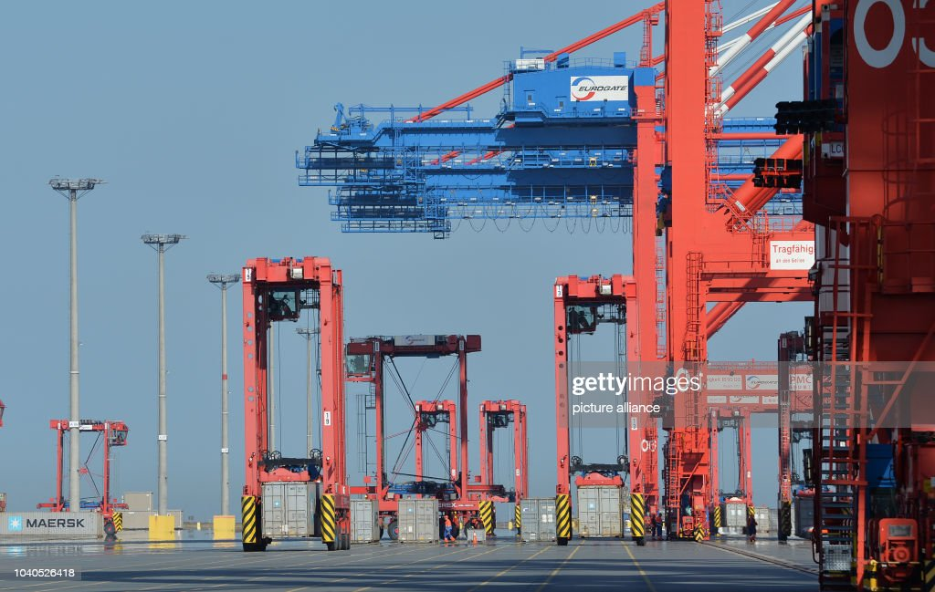 View Of The Container Cranes And Ships At The Jadeweserport In