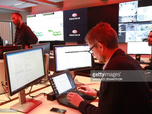 A view of the control and command center for the Equinix Paris data centre called PA8 Equinix's first International Business Exchange in the northern...