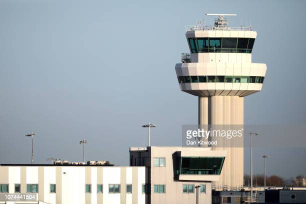 A view of the control tower as a drone causes disruption to flights at Gatwick Airport on December 20 2018 in London England Authorities at Gatwick...