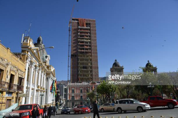 View of the controversial new building for the executive and legislature under construction behind the Palacio Quemado presidential palace in La Paz...