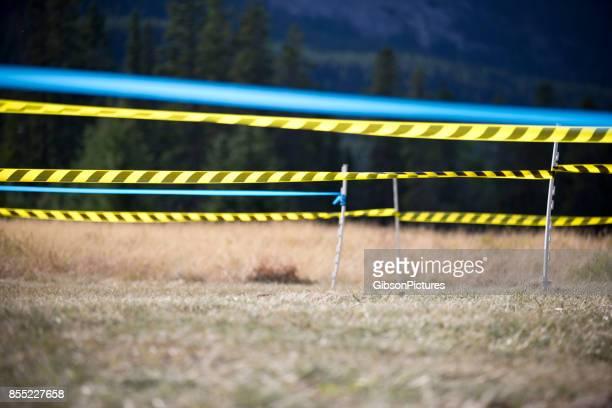 シクロクロス レース コースを線・ コルドン ・ テープのビュー. - 非常線 ストックフォトと画像