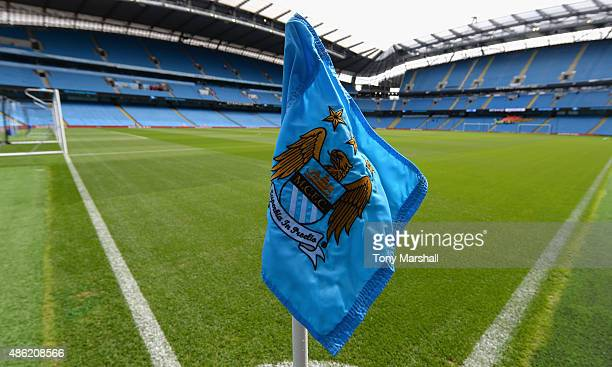 A view of the cormer flag at the Etihad Stadium home of Manchester City during the Barclays Premier League match between Manchester City and Watford...