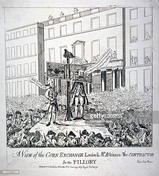 View of the Corn Exchange...', 1785. Christopher Atkinson standing in the pillory surrounded by a horde of people. He was at the time convicted of...