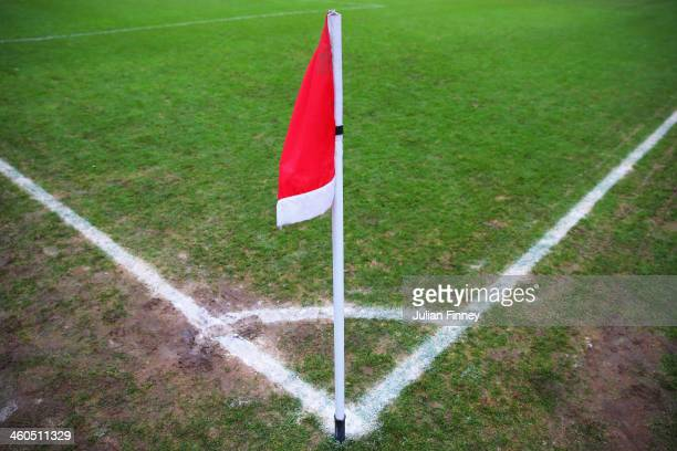 A view of the corner flag prior to the Budweiser FA Cup third round match between Kidderminster Harriers and Peterborough United at Aggborough...