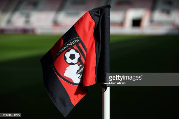 View of the corner flag prior to the Premier League match between AFC Bournemouth and Chelsea FC at Vitality Stadium on February 29, 2020 in...