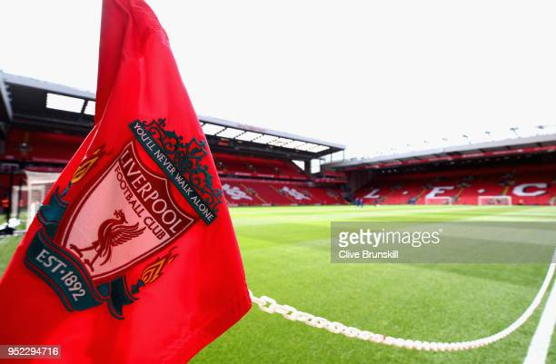 A view of the corner flag prior to the Premier League match between Liverpool and Stoke City at Anfield on April 28 2018 in Liverpool England