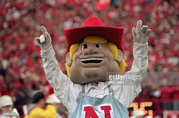 View of the cornhusker mascot as he cheers during the game between the Texas Longhorns and The Nebraske Cornhuskers on October 31,1998 at Memorial...
