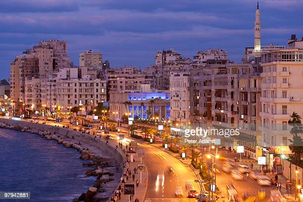 view of the corniche at dusk, alexandria, egypt - egypt stock pictures, royalty-free photos & images