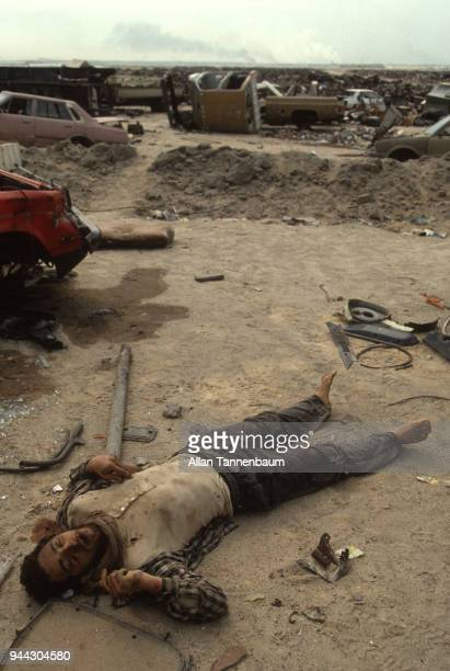 View of the corpse of an unidentified man killed during the Gulf War Kuwait 1991