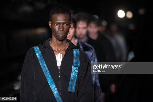 View of the Cottweiler's runway during the London Fashion Week Men's January 2018 at Natural History Museum, London on January 6, 2018. Cottweiler is...