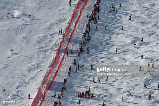 A view of the course during the Alpine FIS Ski World Cup Men's Giant Slalom on October 25 2009 in Solden Austria