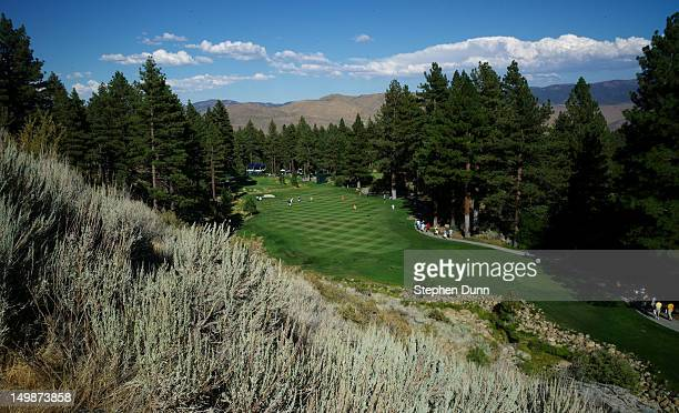 A view of the course's signature 17th hole from the tee box area during the final round of the RenoTahoe Open on August 5 2012 at Montreux Golf and...