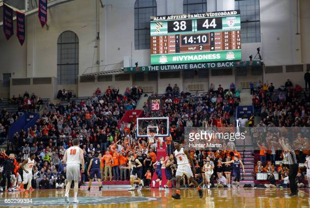 A view of the court after the Princeton Tigers score a basket during a game against the Pennsylvania Quakers at The Palestra during the semifinals of...