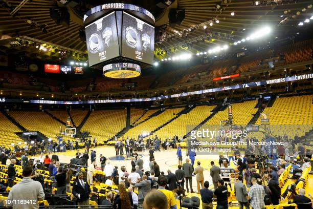 A view of the court before as the Golden State Warriors prepare to take on the Cleveland Cavaliers in Game 2 of the NBA Finals at Oracle Arena in...