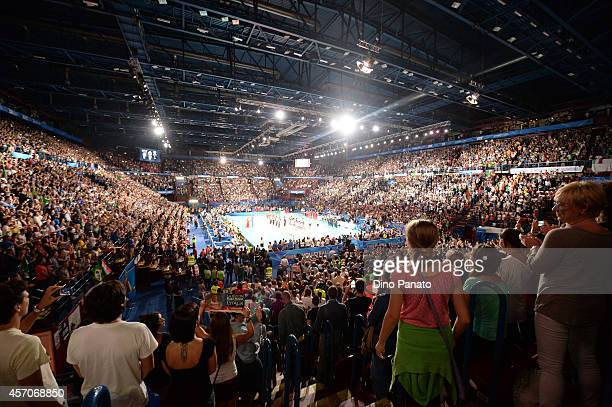 A view of the court before during the FIVB Women's World Championship semifinal match between Italy and China on October 11 2014 in Milan Italy