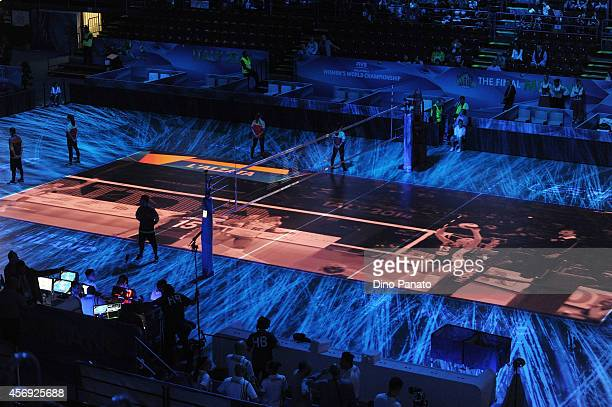 A view of the court before the FIVB Women's World Championship pool H match between China and Dominican Republic at Mediolanum Forum on October 9...