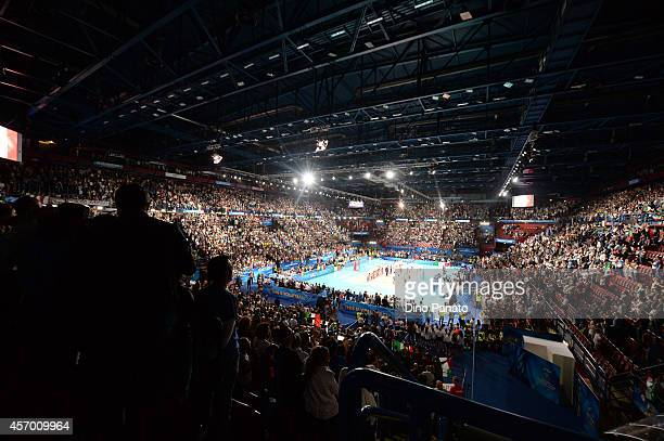 A view of the court before the FIVB Women's World Championship pool H match between Italy and Russia on October 10 2014 in Milan Italy