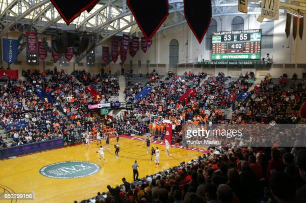 A view of the court during a game between the Princeton Tigers and the Pennsylvania Quakers at The Palestra during the semifinals of the Ivy League...