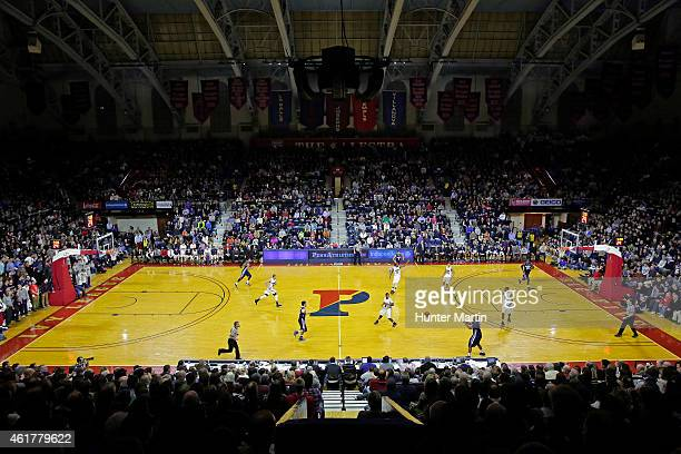 View of the court during a game between the Villanova Wildcats and the Penn Quakers at the Palestra on the campus of the University of Pennsylvania...