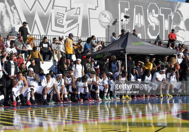 A view of the court during the East Vs West game at adidas Creates 747 Warehouse St an event in basketball culture on February 16 2018 in Los Angeles...