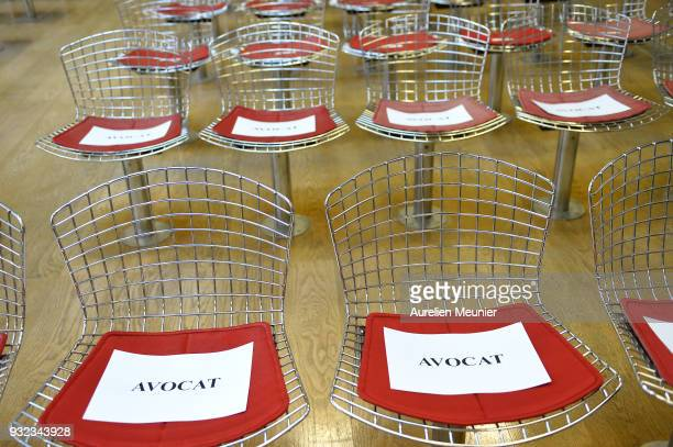 A view of the court room seats before the Johnny Hallyday hearing commences at Tribunal de Grande Instance on March 15 2018 in Nanterre France Today...