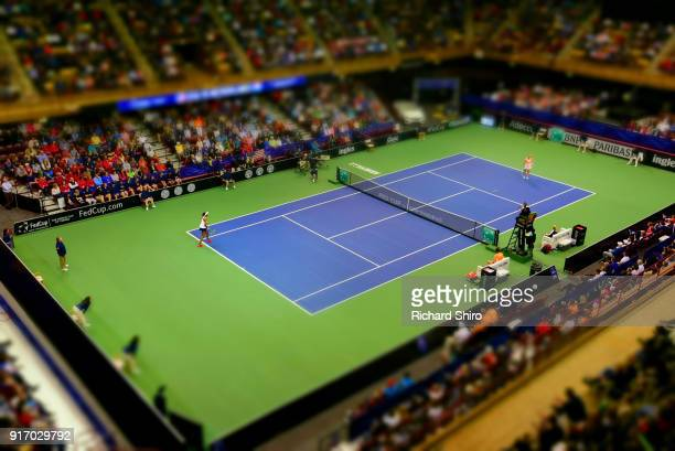 A view of the court while Venus Williams of Team USA and Richel Hogenkamp of the Netherlands compete during the first round of the 2018 Fed Cup at US...