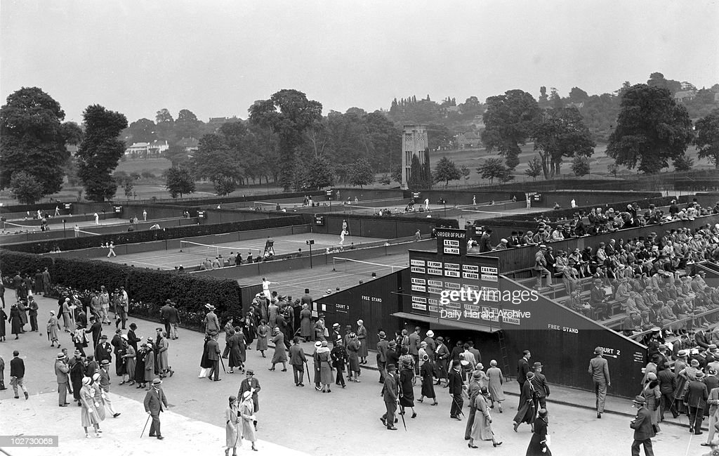 View of the courts at the Wimbledon, 1932. : News Photo