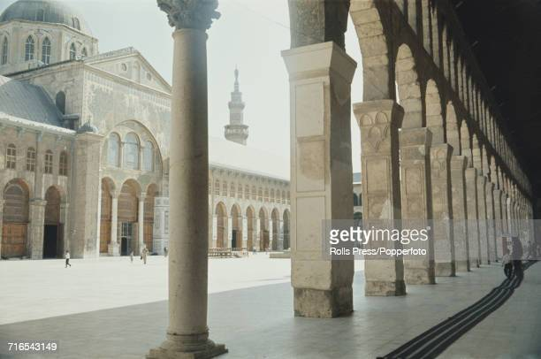 1971 view of the courtyard of Umayyad Mosque or the Great Mosque of Damascus located in the old city of Damascus in Syria