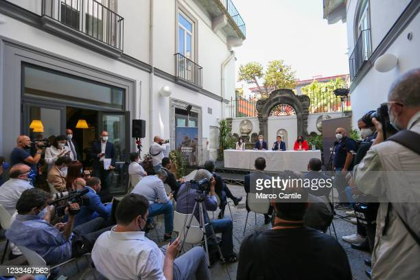 View of the courtyard where the political leader of the 5 Star Movement, Giuseppe Conte, held the press conference for the presentation of the...