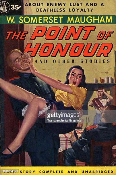 View of the cover of a paperback edition of author W Somerset Maugham's 'The Point of Honour and Other Stories' which features an illustration of a...