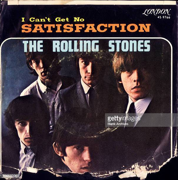 View of the cover of the 45rpm single 'I Can't Get No Satisfaction' by the Rolling Stones which features a portrait of the band members 1965...