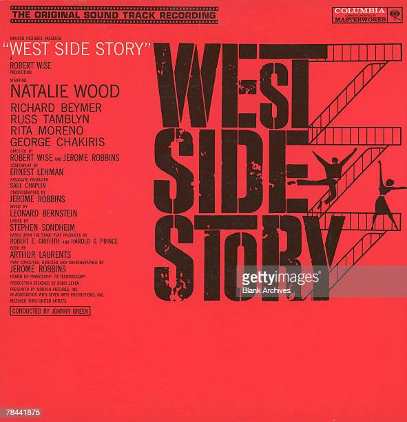 View of the cover of the sound track album from the film 'West Side Story' which features the cast list and a stylized logo 1960 Published by...