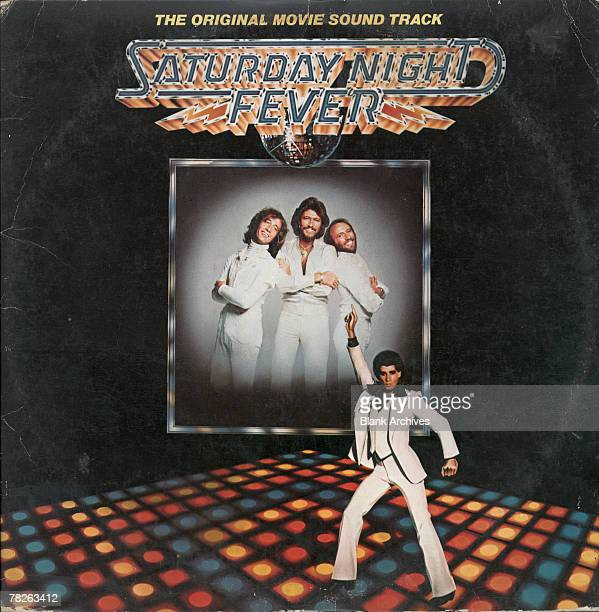 View of the cover of the soundtrack album from the film 'Saturday Night Fever' 1977 Published by RSO Records the album's jacket features a large...