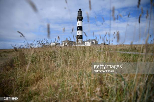 A view of the Creach lighthouse taken September 7 on the island of Ouessant the largest of the Finistère Islands off the coast of Brittany western...