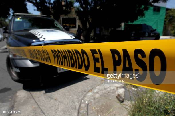 View of the crime scene of a clandestine grave located inside a house in Guadalajara, Jalisco State, Mexico on August 3, 2018. - Mexican...