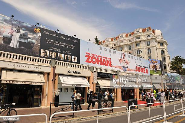 View of the Croisette as preparations continue for the 61st Cannes Film Festival