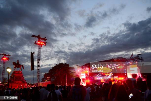 View of the crowd as Juice Wrld performs onstage during Made In America - Day 1 at Benjamin Franklin Parkway on August 31, 2019 in Philadelphia,...