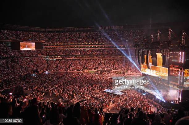 A view of the crowd as Taylor Swift performs onstage during the Taylor Swift reputation Stadium Tour at MetLife Stadium on July 21 2018 in East...