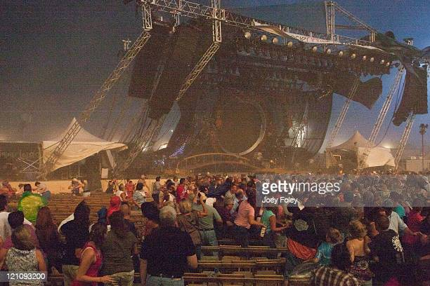 View of the crowd as the stage is collapsing at the Indiana State Fair on August 13, 2011 in Indianapolis, Indiana. The stage fell just before...