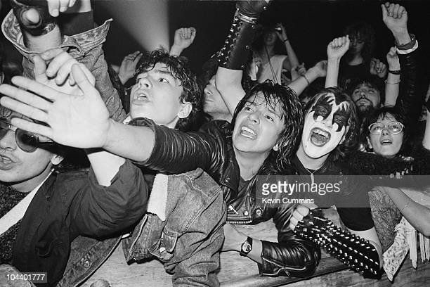 A view of the crowd at a concert by English rock singer Ozzy Osbourne circa 1980 A fan on the right is is sporting 'demon' face paint as worn by Gene...