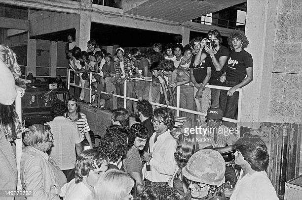 View of the crowd at Comiskey Park during an antidisco promotion Chicago Illinois July 12 1979 The event held between games of a doubleheader between...