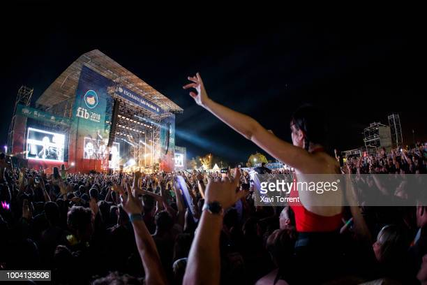 View of the crowd at Liam Gallagher's concert during day 4 of Festival Internacional de Benicassim on July 22, 2018 in Benicassim, Spain.