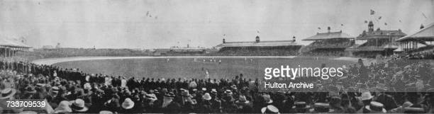 View of the crowd at Sydney Cricket Ground watching the visiting England team play New South Wales, Sydney, Australia, January 1902. Original...